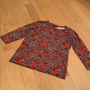 JONES NY med petite red paisley 3/4 sleeve tee
